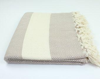 Diamond Throw, Blanket, Turkish Towel, Large Oversized Peshtemal Fouta Hammam Towel, Light Brown, Best Quality