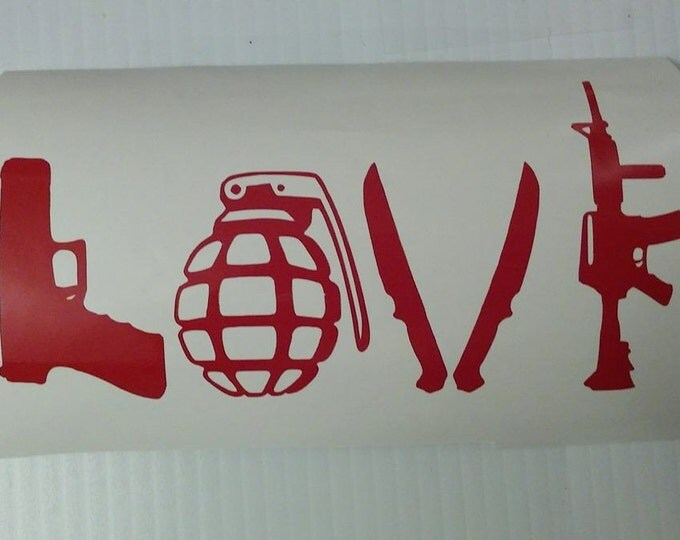 FLASH SALE! RED Weapons Love Vinyl Decal