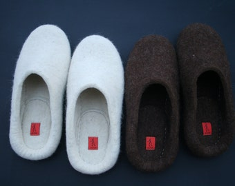 Men felted slippers stitched soles