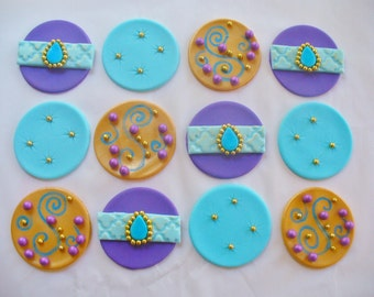 12 GOLD PURPLE TURQUOISE Jeweled Edible Fondant Cupcake Toppers