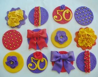 12 BIRTHDAY/ANNIVERSARY FEMININE Edible Fondant Cupcake Toppers