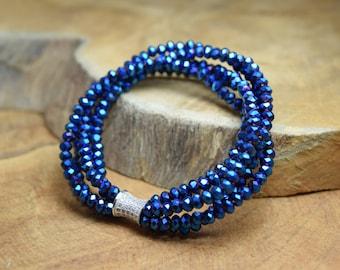 Facet beads bracelet, Glass facet beads, Blue bracelet, Stretch bracelet, Royal blue bracelet, Blue facet beads, Christmas bracelet