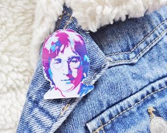 John Lennon Imagine Beatles Yoko Ono Music 60s Liverpool Pin Badge