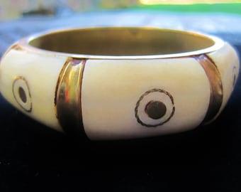 Bone and Brass Tribal Hand Crafted Wide Bangle Bracelet Ethnic India Himalayan 70s Boho Jewelry
