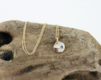 14k Gold Aquamarine Pendant Necklace. Solid Gold Aquamarine Necklace. March Birthstone Necklace. Gold Disc Aquamarine. Round Gold Pendant