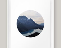 """Mountains River Printable Wall art Circle Nature Landscape Scenery Photography Minimalist Poster Print Photo Blue Colorful 8x10"""" 11x14"""" A3"""
