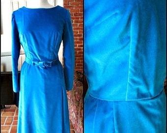 Love Sale 25% off 50s Velvet Dress / fits M / 1950s Turquoise Velvet Dress / Vintage Velveteen Dress / Blue Velvet Dress / Vintage Blue Velv