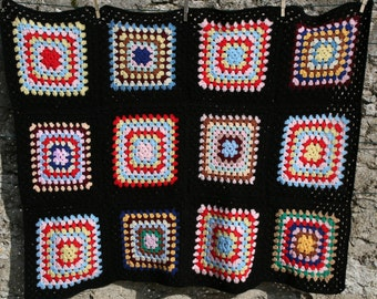 Loukoum : French vintage afghan blanket or throw, 12 crocheted granny squares