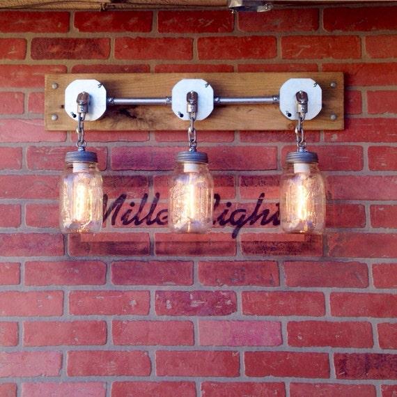 Rustic Industrial Modern Mason Jar Lights Vanity Light: Industrial Mason Jar Light Sconce Jars Of Light By