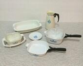 Child sized miniature Corelle Corningware Cornflower dishes toys