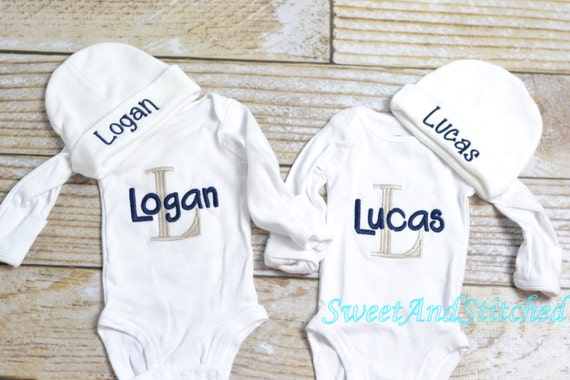 Personalized baby boy gift set gray and navy, baby boy monogram bodysuit outfit and newborn hat, Baby boy take home outfit monogrammed