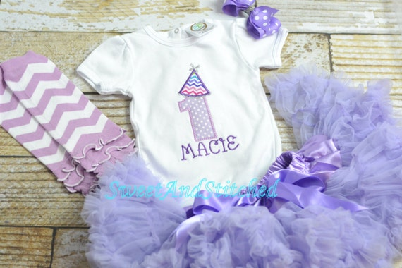 Purple First (1st) Birthday Outfit with Pettiskirt tulle tutu - First birthday outfit, birthday pettiskirt! purple cake smash outfit