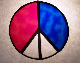 Vintage Stained Glass Peace Sign Suncatcher