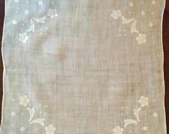 White Linen Handkerchief, Madeira Applique, Embroidered, Ladies Hanky, Bridal Handkerchief, Gift Idea,