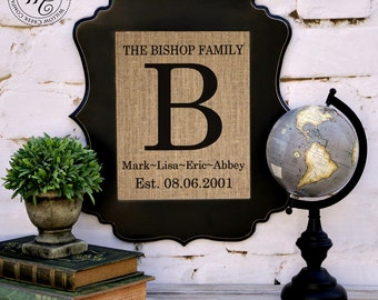 Personalized Family Name Sign with Couples Names & Established Date, Childrens Names and Wedding Date