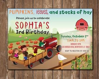 Fall Hayride and Farm themed Birthday Party Invitation - Printable
