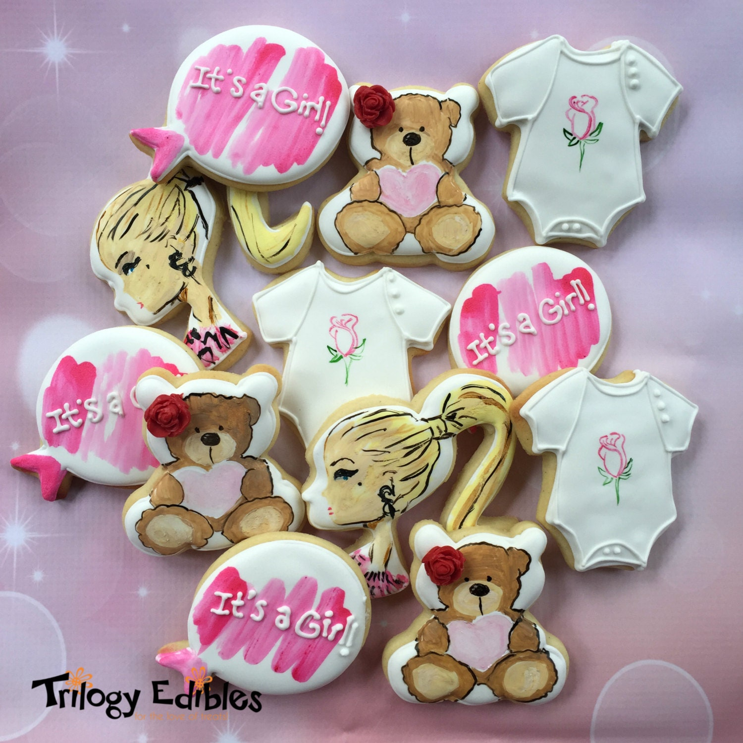 baby girl barbie shower cookies