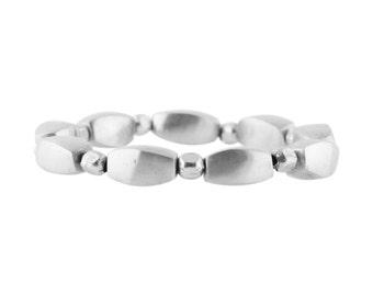 ON SALE Pebble Bracelet In Silver, Stretch Silver Bracelet, Fits All Bracelet, Beaded Bracelet, Yoga Bracelet
