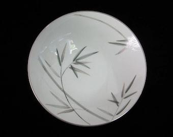 """Noritake Bambina 9"""" Serving Bowl Vintage Round Vegetable Dish Green and Gray Bamboo Motif Platinum Trim Midcentury Japanese China 1956-1968"""