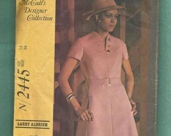 ON SALE Vintage 1970 McCalls 2445 Designer Larry Aldrich Mod Funnel Neckline Dress with Button Detail Size 14