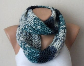 gray mint green white blue knit infinity, circle scarf,wrap, knit scarf loop scarf