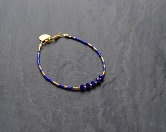 End miyuki beads and crystal blue cobalt and gold bracelet