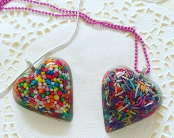 Sprinkle necklace - Sprinkle pendant - Heart resin pendant - 100s and 1000s - sprinkles - candy - lollies - Kawaii Kitsch - food jewelry