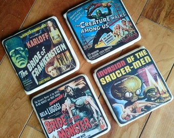 Retro Horror Film Coasters Set of Four Hand Made Upcycled Great Gift