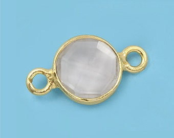 1 ea. Tiny 6mm Quartz Crystal and Vermeil Bezel Connecor Link Birthstone