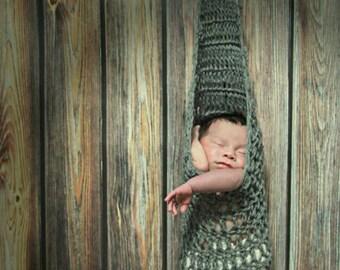 Newborn photography prop hanging stork pouch