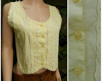 90's COTTON sunny yellow broderie anglaise lace sleeveless gypsy top u.k. 10 - 12 SM