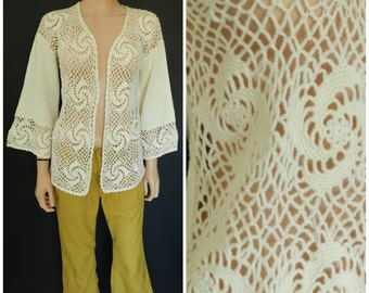 60s 70's ACRYLIC cream crochet knit PAISLEY Bell sleeves open front Cardigan Sweater Top M