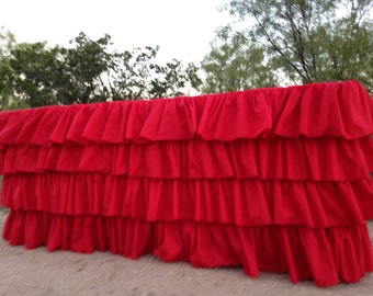Ruffled Red Cotton Tablecloth