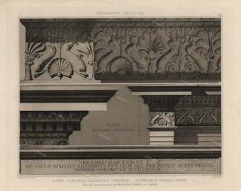 Antique Original Prints of Architectural Elements From Fragments D'Architecture- Rome Thermes D' Agrippa -1905 D'Espouy,