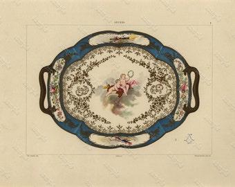 Antique original Colored Print From   La PORCELAINE Tendre De Sevres - Folio original chromolithographic plates highlighted with gold