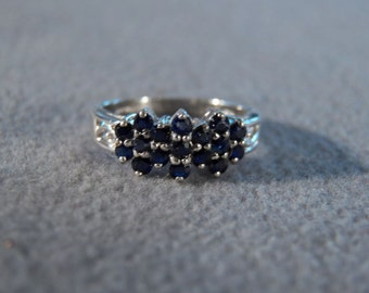 Vintage Sterling Silver 17 Round Cut Blue sapphires Band Ring, Size  7        **RL