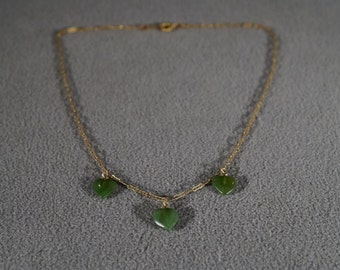 vintage 12 K Yellow Gold filled 3 Puffed Heart Dangle Charm Bib Style Necklace Chain     #584       **RL