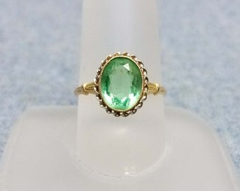 Vintage 10K Yellow Gold Pale Green Deco Ring 8.5 Budlong Docherty Armstrong BDA