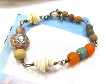 Ceramic Bead Bracelet, Beaded Matte Jasper, Boho Jewelry, Handmade Porcelain Focal Bead, Bone and Ghana Glass, Blue and Beige, Gemstone