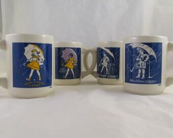 Morton Salt Girl When it Rains it Pours Anniversary Mug set of 4 four still in box