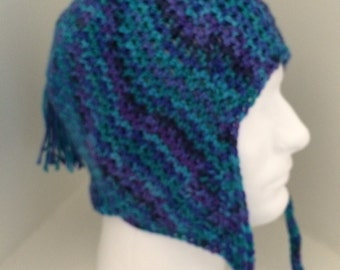 Flap eared hat in shades of blue and purple