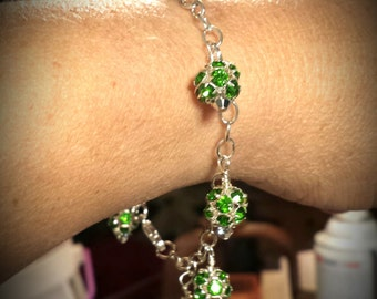 Sparkling Green Rhinestone and Silver Balls on Seven and a Half Inch Sterling Silver Chain Green Rhinestone Sterling Silver Bracelet