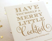 Letterpress Christmas Party Invitation, gold ink with red envelopes, fill in the blank, Set of 10 or more, Holiday Cocktail - READY TO SHIP!