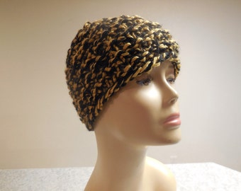 Black and Gold thick winter beanie