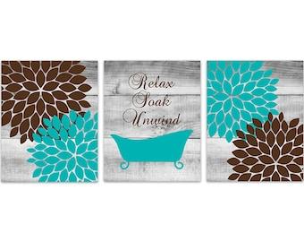 Aqua And Brown Bathroom Decor Relax Soak Unwind Instant Download Bath Art Printable