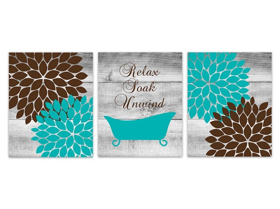 Aqua and brown bathroom decor relax soak unwind instant for Teal and black bathroom accessories