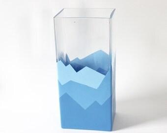 Blue Mountain Range Vase - Hand Painted | Graphic, Gradient, Baby blue, Mountains, Travel, Wanderlust, Horizon, Rockies, Rocky Mountains,