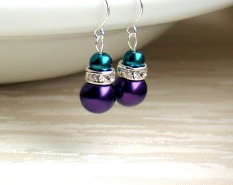 Teal and purple earrings, Teal and purple pearl earrings, Teal jewelry, Purple wedding, Purple Teal wedding, Bridesmaid Gift, Teal wedding