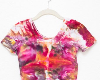 Hand dyed Jersey Spandex Crop Top in pink, gold, and grey