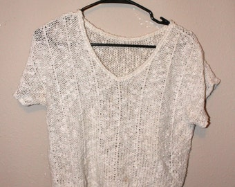 Knit short sleeve crop top sweater